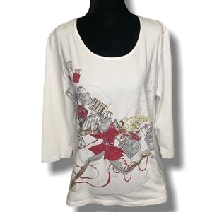 CHICO'S Graphic Tee w/Bling 3/4 Length Sleeve Sz L
